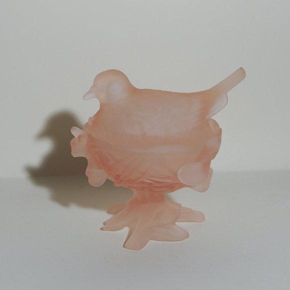 Vintage Cottagecore Bird in Nest Pink Glass Box